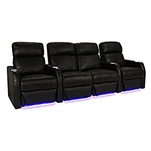 Seatcraft sienna black bonded leather home theater seating row of 4 seats with Home theater furniture amazon