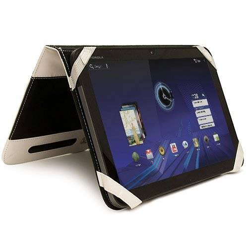 (Black White) Xoom Leather Cover for Motorola Xoom Tablet Android 3.0