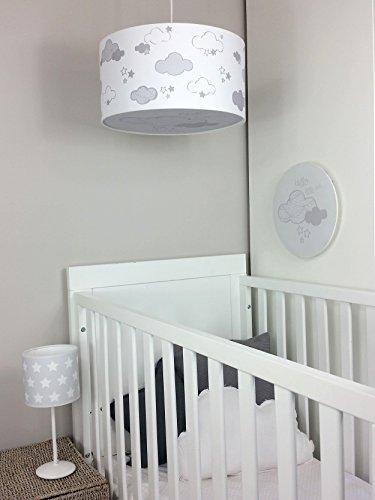 Luminaire-enfantlampe-de-plafondSuspension-Blanc-avec-Nuages-Gris-Clair