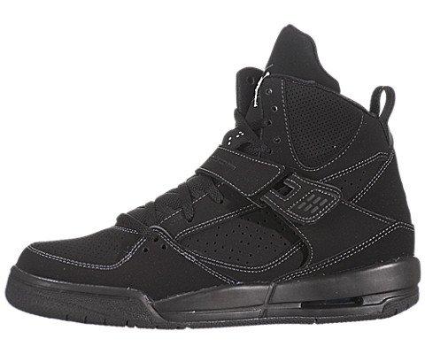 Jordan Flight 45 High (Gs) Youth Boys Size 4 Black Leather Basketball Shoes