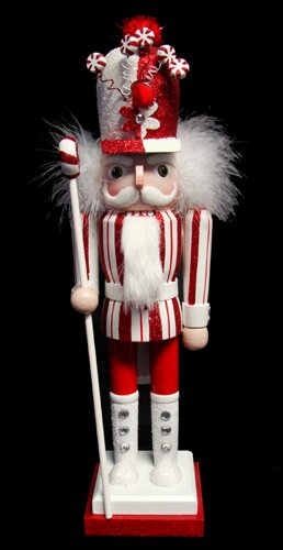 """15"""" Peppermint Twist Decorative Wooden Christmas Nutcracker with Candy Crown"""