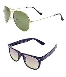 Aoito Aviator Sunglasses (Rose Gold) + Aoito Wayfarer Sunglasses (Black) (Ao-Gol-13A)