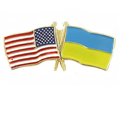 USA and Ukraine Crossed Friendship Flag Lapel Pin