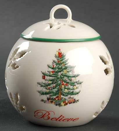 Spode Christmas Tree-Green Trim Believe Pierced Friendship Ball & Lid, Fine China Dinnerware