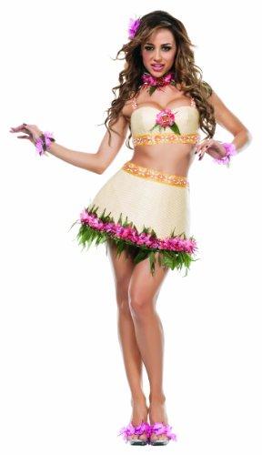 [Starline Women's Hawaiian Tiki Goddess Sexy 5 Piece Costume Set, Tan, Medium] (Tiki Costumes)