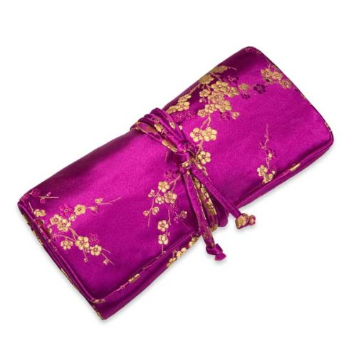 Jewelry Roll (Large) - Silk Brocade (Fuchsia Cherry Blossom)