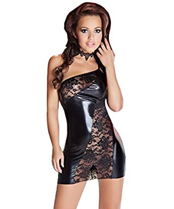 2tlg. Sexy Wetlook Minikleid Spitze Kleid Fetisch Abendkleid Reizwäsche Fetish
