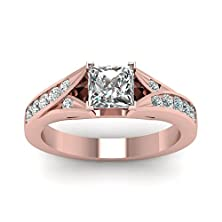 buy 0.80 Ct Princess Cut Diamond Cathedral Style Rose Gold Engagement Ring Channel Set (I Color,Vs2 Clarity)