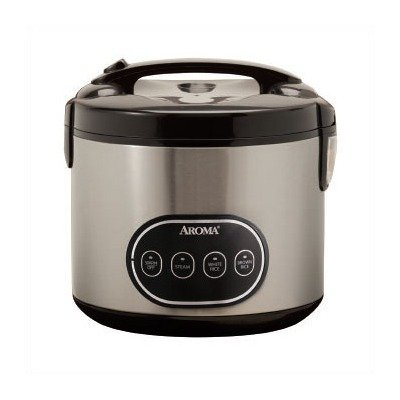 8-Cup Digital Dry Rice Cooker and Steamer in Stainless Steel by Aroma