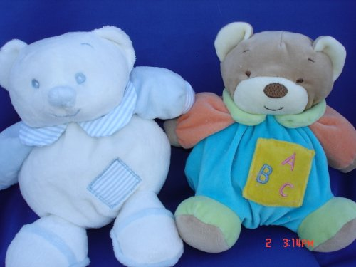 Ultra Soft My First Baby Blue Teddy Bear Toy Rattle Stuffed Animal, 7 Inches Tall , 2 Pcs Set