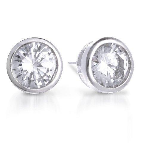 Bling Jewelry Sterling Silver Bezel Set Round Cut CZ Men Unisex Stud Earrings 9mm