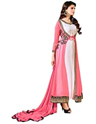 Aarti Lifestyle Women's Georgette Embroidered Pink & White Anarkali Suit