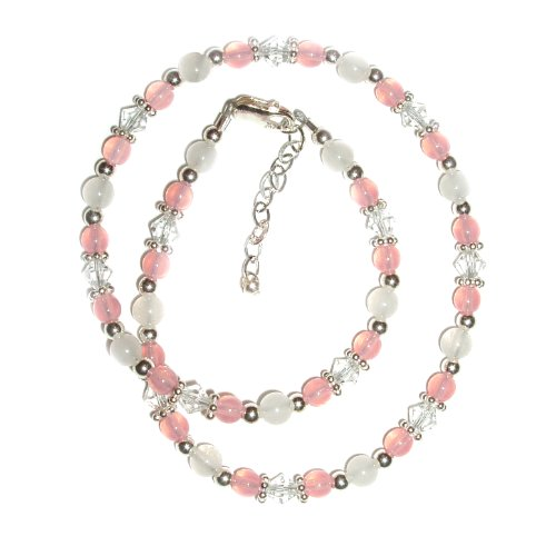 BN Kara - Pink Sterling Silver Girls Necklace Childrens Jewelry Beaded Necklace with Pink and White Jade and Crystals