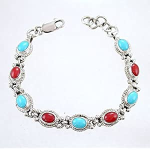 Southwestern Native American Navajo Link Bracelet with Turquoise and Coral Gemstones in Sterling Silver, #TP214