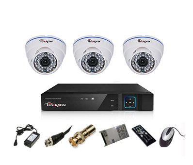 Tentronix-T-4ACH-3-DA13-4-Channel-AHD-Dvr,-3(1.3MP/36IR)-Dome-Cameras-(With-Accessories)
