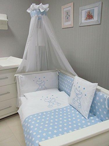 BABY-BETTWSCHE-SET-CATS-Punkte-4tlg-Bett-Set-135100-VOILE-frs-BABYBETT-14070-cm-Bettwsche-gestickt-Nestchen-Himmel-Baldachim-Moskito-blau