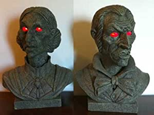 Set of 2 Animated Halloween Interactive Talking Busts - Light Up Eyes