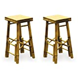 2 Bamboo Bar Stools