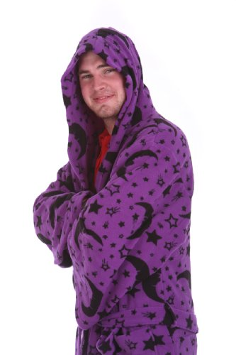 Funzee Wizard dressing gown magic fleece bath robes in deep purple with black moons and stars, Sizes S-L (Size on Height)