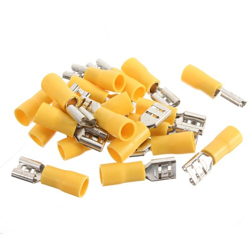 100Pcs Yellow Female Insulated Spade Wire Connector Electrical Crimp Terminal 4.0-6.0Mm2