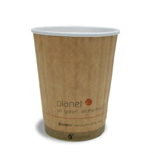 Stalkmarket Planet Plus 100% Compostable Pla Laminated Double Wall Insulated Hot Cup, 12 Ounce