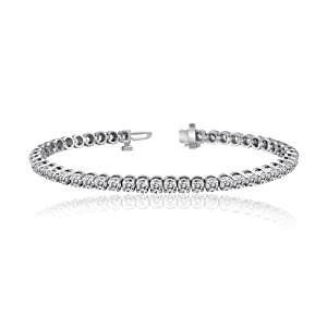 14k White Gold Round Cut Diamond Tennis Link Bracelet 4-Prong (15 cttw, J-K Color, I1-I2 Clarity)