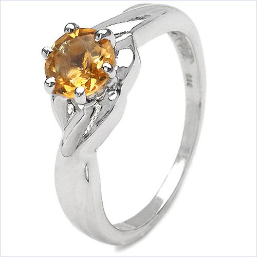Attractive Quality Anti-Tarnish 925 Sterling Silver Ladies Ring with Citrine 0.90 Carat