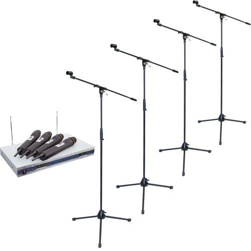 Pyle Mic And Stand Package - Pdwm5500 4 Mic Vhf Wireless Microphone System - X4 Pmks2 Tripod Microphone Stand W/Boom