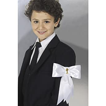 Corrine Boys White Satin First Communion Armband Bow Gold Chalice