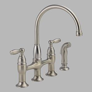 Delta 21966lf ss dennison two handle bridge kitchen faucet for Kitchen faucet recommendations