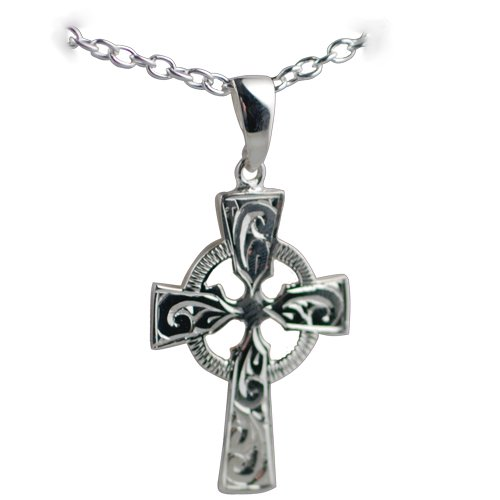 Silver 35x24mm hand engraved Celtic Cross with Cable link chain 18 inches
