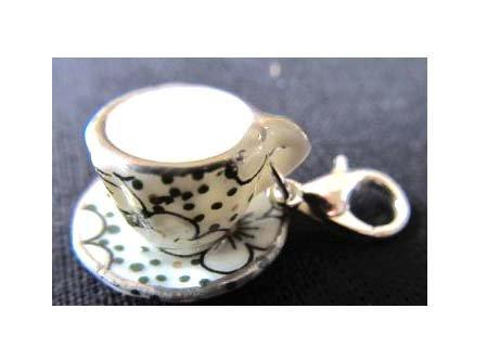 Kaffeetasse Tasse Punkte CHARM Zipper Pull Anhänger Bettelanhänger Miniblings