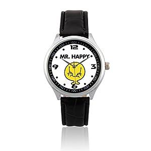 L259 - NEW Japanese Quartz Analog Leather Strap Wrist Watch - Mr. Happy ( Mr. Men and Little Miss )