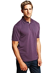 Blue Harbour Modal Blend Soft Touch Birdseye Striped Polo Shirt