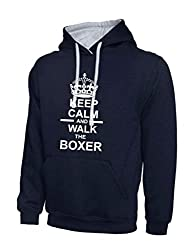 Keep Calm And Walk The Boxer Navy Blue & Heather Grey Contrast Hoody