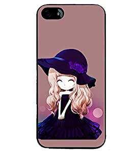 Printvisa Animated Girl With Puple Dress And Hat Back Case Cover for Apple iPhone 4