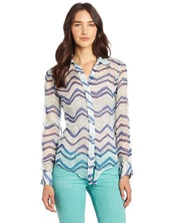 Lucky Brand Women's Terrenea Stripe Jane Top, Blue Multi, X-Small
