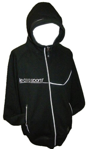 Le Coq Sportif Hoody Mens Hooded Jumper Top - Black : Large