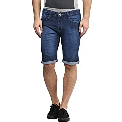 Urban Navy Mens Stretchable Denim Slim Fit Capris(30)