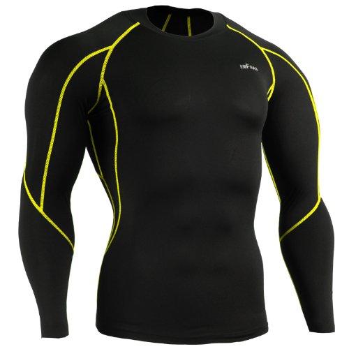 Emfraa Men Women Skin Tight Compression Base Layer Black Running Shirt S ~ 2XL