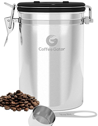 Large Coffee Canister - Ground or Whole Beans Fresher for Longer - FREE eBook & SCOOP worth $7.97 - Premium Quality Stainless Steel Coffee Container by Coffee Gator (Coffee Bar Storage compare prices)