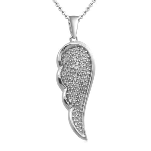 Sterling Silver Leaf Pendant Necklace (1/6 Cttw, I-J Color, I3 Clarity), 18