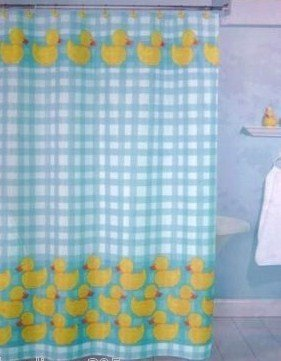 Ducky shower curtain cheap price cheap gingham duck blue for Cheap childrens curtain fabric