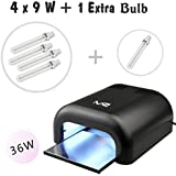 MelodySusie® High Quality Portable 36W UV Lamp Light Acrylic Nail Dryer for CND Shellac, Soak Off, Harmony Gelish, IBD etc., with Sliding Tray & 2 Timmer Setting + 4x9W UV Lamp + Free Extra One Bulb