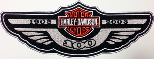 Harley Davidson Badge American Motorcycle Biker Clothing Embroidered Iron on Big Patch 10x26.5cm 100 Yrs Anniversary