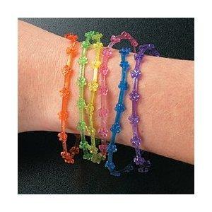 144 Vinyl Glitter Flower Jelly Bracelets