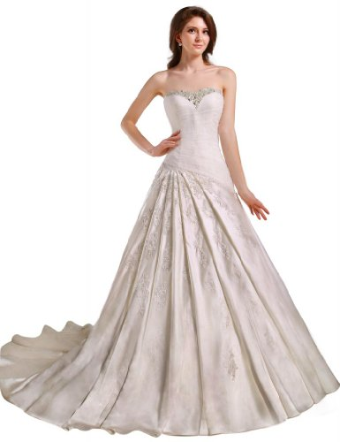 GEORGE BRIDE Strapless Beaded Bodice Satin Court Train Wedding Dress Size 12 Ivory