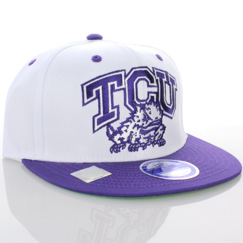 christian university horned frogs college flat bill visor hat cap white tcu baseball stack rally caps authentic
