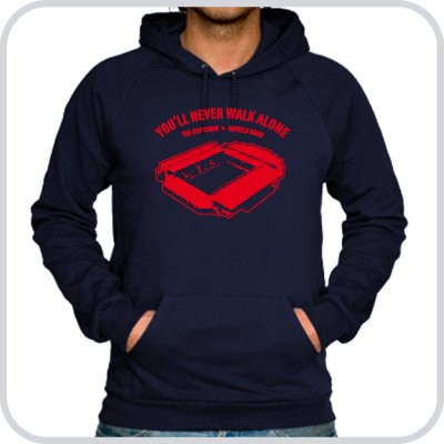 Hoodie Anfield Road ::: Colour: navy ::: Sizes: M-XL (football)