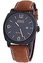 Soleasy Top Sale! CURREN 8158 Men's Military Leather Strap Sports Watches-Black WTH4016